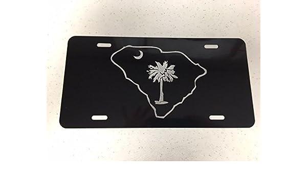 SC Palmetto outline Logo Car Tag Diamond Etched on Black Aluminum License Plate