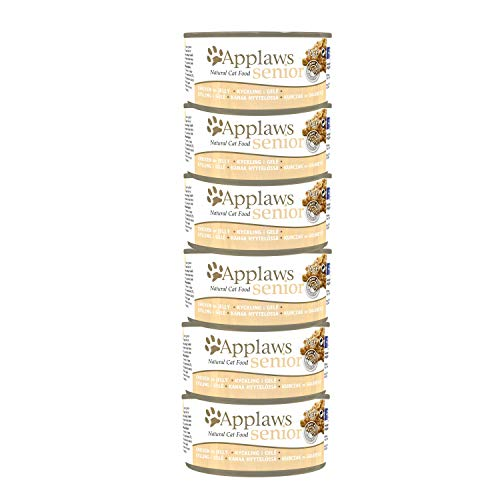 Applaws Natural and Complete Senior Cat Food, Chicken in Jelly 70g Tins Pack of 6