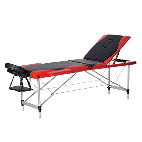Civigrape Portable Massage Table 3 Fold Aluminum Alloy Frame for Facial SPA Bed/SPA Therapy/Beauty Salon (Black+Red 70cm)