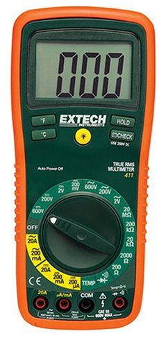 Extech EX411 True RMS Manual Ranging Digital Multimeter with Type K Remote Probe Thermometer