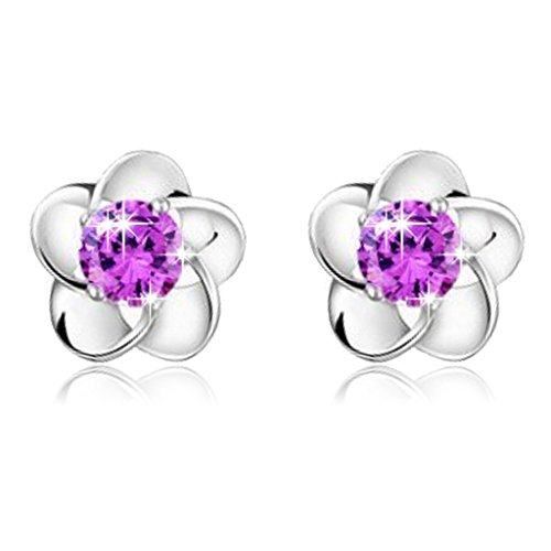 Clearance Deal! Hot Sale! Earring, Fitfulvan 2018 Silver plated Rose Flower Shaped Crystal Stud Earrings for Women Ladies Gift (Purple) - White Circular Bracelets