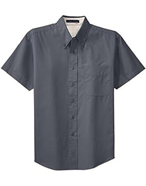 Men's Short Sleeve Wrinkle Free Button Down Work Shirt
