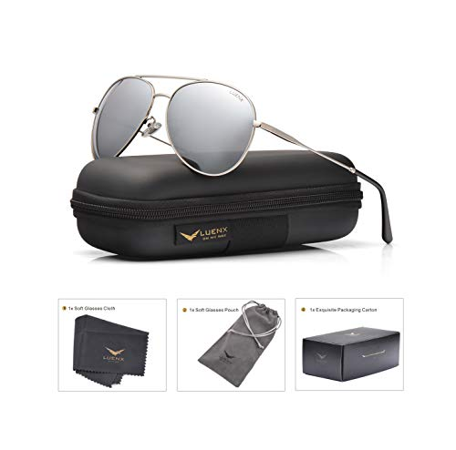 111053a1ad LUENX Men Women Aviator Sunglasses Polarized Mirrored Silver Lens Metal Frame  UV 400 Driving 59MM with