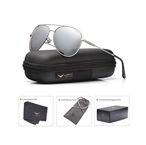 LUENX Men Women Aviator Sunglasses Polarized Mirrored Silver