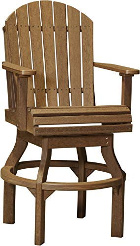 Poly Swivel - LuxCraft Recycled Plastic Outdoor Adirondack Poly Swivel Chair with Footrest, 53