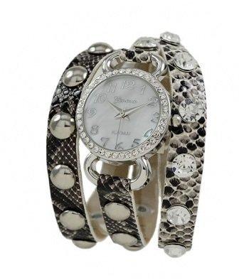 Geneva Platinum 12954012 Designer Inspired wrap around watch with Polished, gold studs, and crystal rhinestones -BLACK PHYTON/SILVER