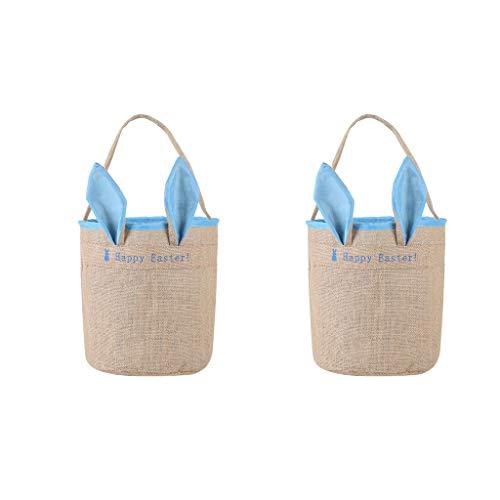 Easter Bunny Bag, Easter Egg Basket Bunny Ears Design Gift Bag for Egg Hunts Dual Layer with Jute Cloth Material Easter Tote Handbag for Party Favor Gifts,2PCS (Blue)