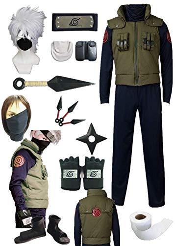 YOUYI Comic Naruto Hatake Kakashi Cosplay Costume Halloween Full Suit (Child L-3XS) Green ()