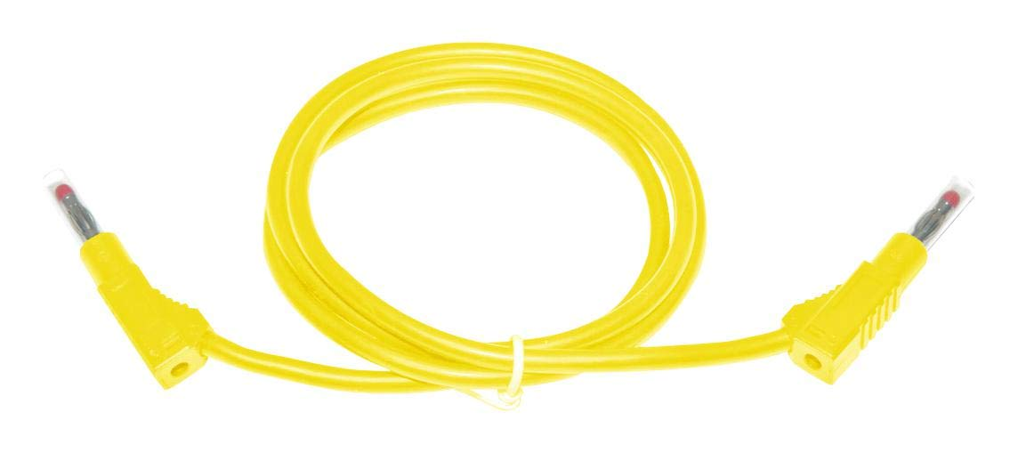 MUELLER ELECTRIC BU-2323-10-79-4 Test Lead, 4mm Stackable Banana Plug, 4mm Stackable Banana Plug, 600 V, 45 A, Yellow, 2 m