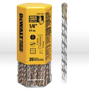 "DeWalt DW5417B25 DeWalt 1/4"" x 4"" x 6"" Rock Carbide SDS+ Hammer Bit (Bulk 25)"