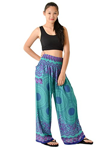 Orient Trail Women's Hippie Bohemian Tribal Design Yoga Wide Leg Harem Pants Small Mandala (Bottom Hippie Dress)