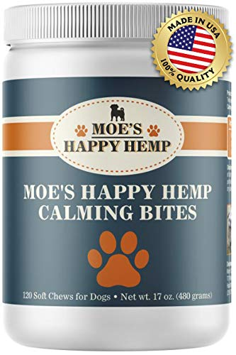 - Organic Calm Hemp Treats for Dogs: Dog Anxiety Relief and Calming Aid for Hyperactive or Aggressive Pets - Daily Supplement to Support Joints and Healthy Skin and Coat - 120 Soft Chews, Chicken Flavor