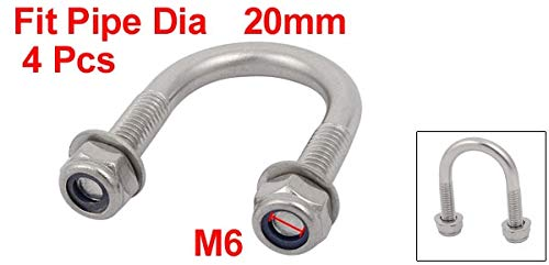 SMALL-CHIPINC - Hot Sale 4pcs M6 Thread 16mm 20mm 38mm Pipe Outer Dia 304 Stainless Steel Square U Bolt w Hex Nut Washer