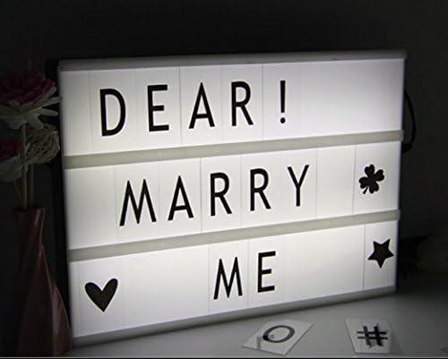 3 modos ajustable DIY cine caja de luz LED cinemática luz hasta caja con decorativo 252 letras números símbolos, mando a distancia para San Valentín/fiesta/cumpleaños/aniversario/boda/mottoes: Amazon.es: Hogar