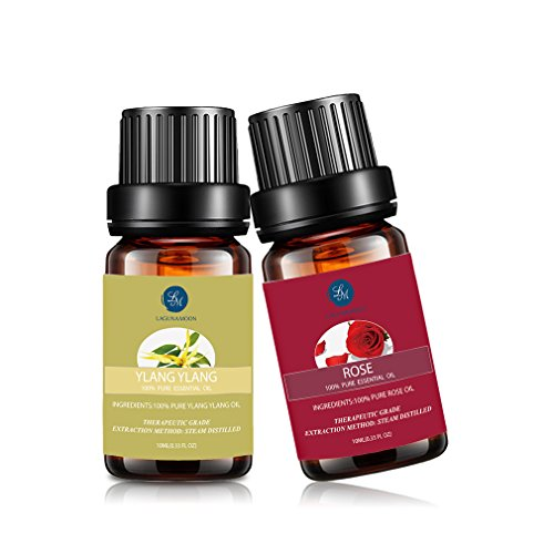 Lagunamoon Ylang Ylang Essential Oil,Rose Essential Oil Natural Pure Aromatherapy Oils Therapeutic Grade,10ml Top 2 Pack (Rose Essential Oil Pure)