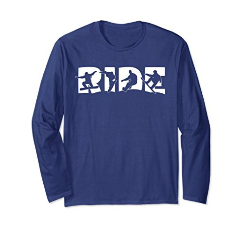 Unisex RIDE Snowboard Long Sleeve T Shirt, Silhouette Snowboarding Large Navy