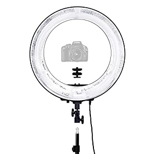 "LimoStudio 18"" Ring Light Dimmable Fluorescent Continuous Lighting Kit 5500K Photography Photo Studio Light Stands with Carrying Case, AGG1774V2"