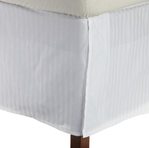 (Superior 1500 Series 100% Microfiber Pleated Twin XL Bed Skirt Stripe, White - 15 Inch Drop and 100% Microfiber)