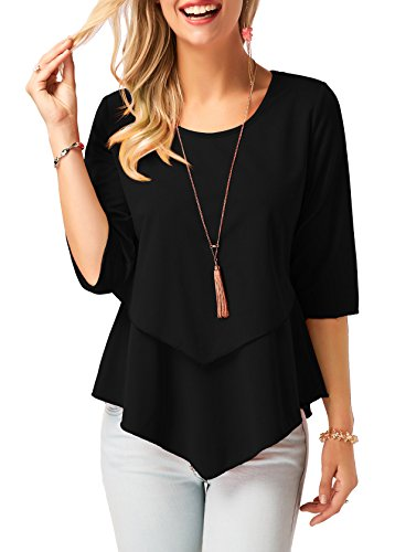 BETTE BOUTIK Women's Round Neck Casual T-Shirts Solid Color Tunic Tops Black Small - Neck Tunic Blouse