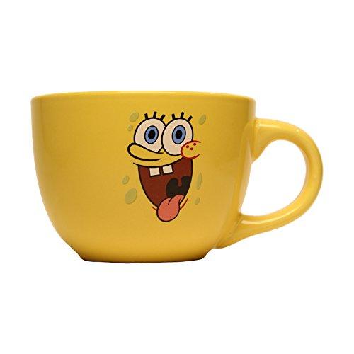 Silver Buffalo SG1724 Nickelodeon SpongeBob Tongue Ceramic Soup Mug, 24-Ounces
