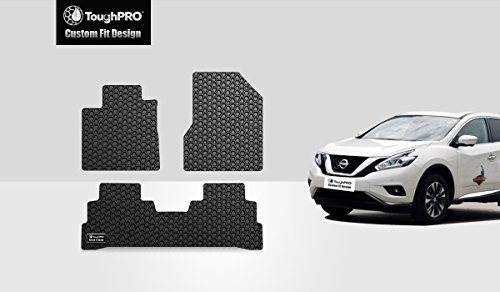 TOUGHPRO Floor Mat Accessories Set (Front Row + 2nd Row) Compatible with Nissan Murano - All Weather - Heavy Duty - (Made in USA) - Black Rubber - 2015, 2016, 2017, 2018
