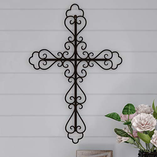 (Lavish Home Handmade Short Flat White Mango Wood Vase Metal Cross Fleur De Lis Design-Rustic Handcrafted Religious Wall Art for Decor in Living Room, Bedroom)