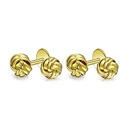 Bling Jewelry Bling Classic Gold Plated Sterling Silver Single Woven Love Knot Shirt Studs Set