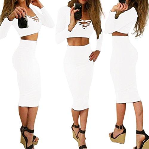 Dora Bridal Womens Slim Two Piece Midi Skirt Bandage Bodycon Tight Dress