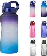 Half Gallon Water Bottle with Straw and Motivational Time Marker 64oz Large Capacity Leak Proof BPA Free Fitne