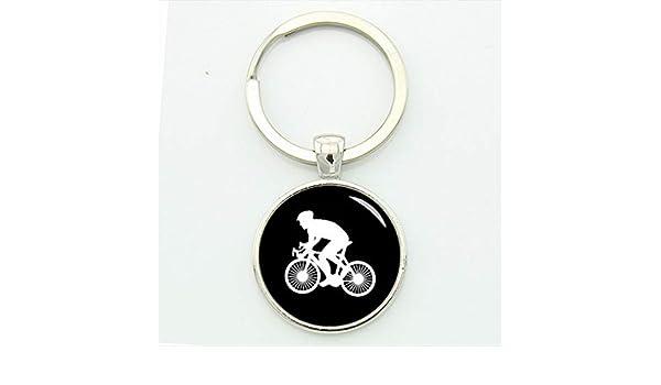 Casual Sports Cyclist Llavero Minimalista Ciclismo Silueta Arte ...