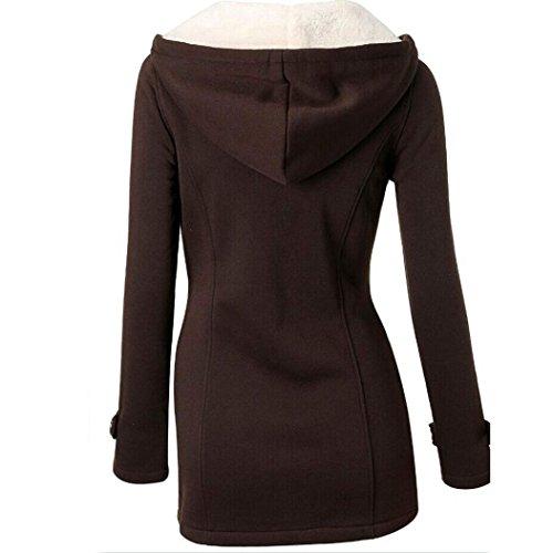 Parka Mode veste Trench Caf femme Slim chaude Tonsee Outwear Long coupe vent laine manteau 6qqw7dv