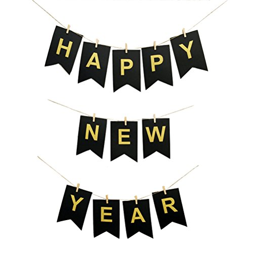 BESTOYARD New Year Banner Happy New Year Hanging Decorations for New Years Eve Party Supplies (New Years Eve Decorations)