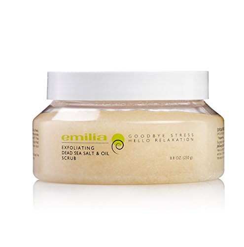 Emilia Exfoliating Dead Sea Salt & Oil Scrub - Dead Sea Minerals Body Scrub for Skin Stress Relief With Natural Sweet Almond, Wheat Germ, Calendula and Sesame Oils, Best Ingredients for Deep Skin Care