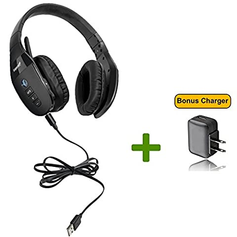 VXi BlueParrott S450-XT Bluetooth/NFC Stereo Mic Headphones Bundle - Bonus Wall Charger | Compatible for Streaming Music, MAC, Windows, Android Phone, Tablet, iOS iPhone, iPad, Blackberry | - Bluetooth Headset Compatible