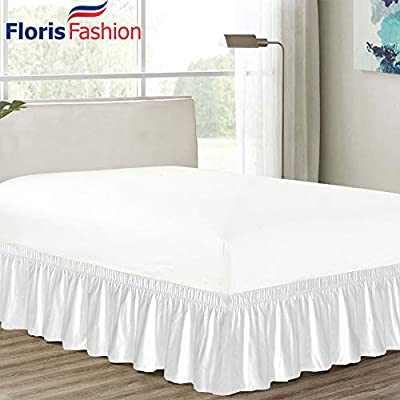 "Floris Fashion 300TC 100% Cotton Elastic Dust Ruffled Never Lift Mattress (Three Fabric Side) Wrap Around Bedskirt Solid 20"" Easy Fit (Free Cotton Grocery Bag Per Order)"
