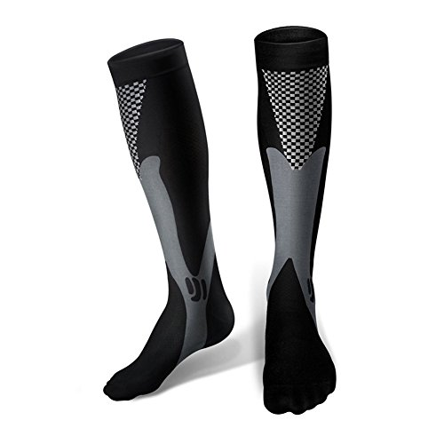 Sunfung Graduated Compression Socks 20-30 mmhg For Nurses Cycling Runners Fitness Weight Lifting Maternity Teachers For Men and Women S/M (Black)