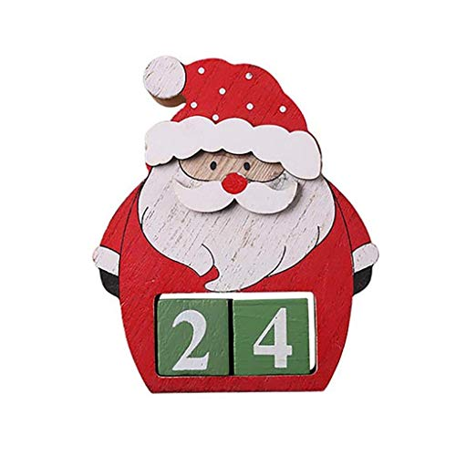 GXOK Christmas Calendar Fabric Advent Countdown Santa Claus Calendar Christmas Decor (Color B) (Living Furnishings Coastal)