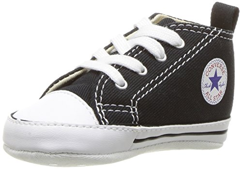 Converse Baby First Star High Top Sneaker, Black, 3 M US Infant ()