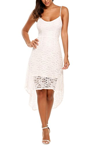 Zeagoo Women's V Neck Spaghetti Strap Lace Hollow High Low Cocktail Party Dress White M