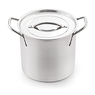 McSunley Medium N Cook Stockpot, 8 Quart, Silver Stainless Steel All Purpose Prep and Canning Bowl