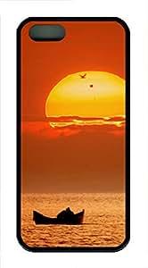 iPhone 5 5S Case Boating Sunset TPU Custom iPhone 5 5S Case Cover Black