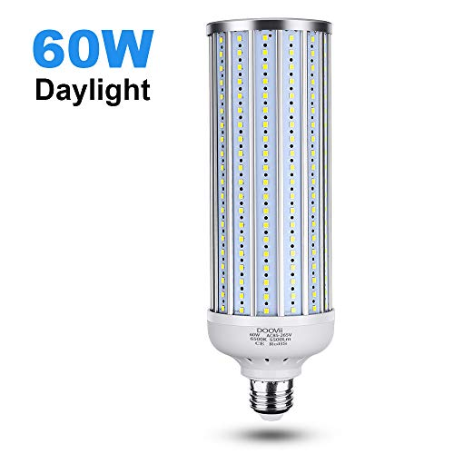 60 Watt LED Corn Light Bulb(450W Equivalent),5500 Lumen 6500K,Cool Daylight White LED Street and Area Light,E26/E27 Medium Base,for Outdoor Garage Factory Warehouse High Bay Barn Backyard and More
