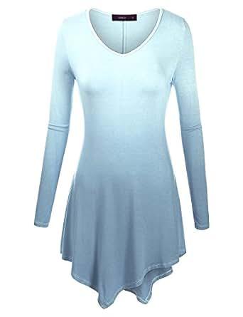 Doublju V-Neck Tunic Handkerchief Longline Tunic T-Shirt Dress Top (Plus size available) AQUA SMALL