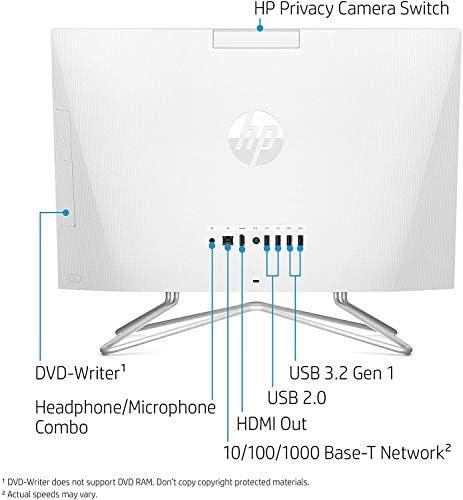 2021 Newest HP 24-inch FHD All-in-One Desktop Computer Dual-Core AMD Athlon Silver 3050U Processor 8GB DDR4 RAM NVMe M.2 256GB SSD DVD WIFI5 BT Web Cam Windows 10 Snow White w/RE USB3.0 Flash Drive