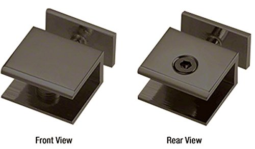 CRL Oil Rubbed Bronze Thru-Glass Square Cornered Shelf Clamp by C.R. Laurence
