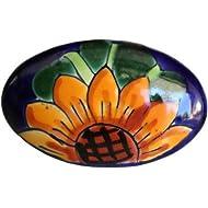 Fine Crafts Imports Oval Sunflower Talavera Ceramic Drawer Knob