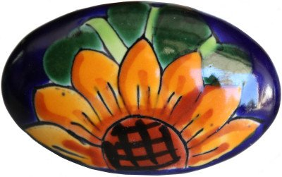 Oval Sunflower Talavera Ceramic Drawer Knob by Fine Crafts & Imports (Image #2)