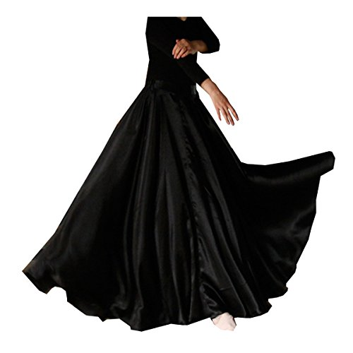 Womens Elegant Ballroom Long Latin Belly Dance Full Circle Dance Skirt (Black)