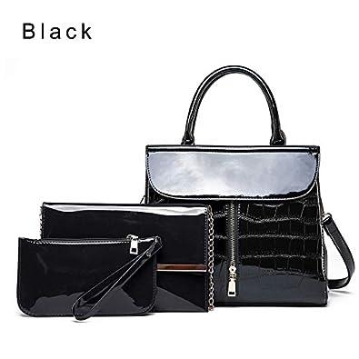 f8a7018233 Amazon.com  Best Quality Shoulder Bags 3Pcs Luxury Patent Leather Handbag  Women Bags Designer Brand Famous Tote Bags Shoulder Crossbody Bag Clutch Purse  Bag ...