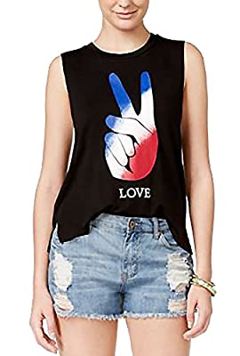 Miss Chievous Juniors High-Low Graphic Tank Black XL